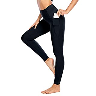 Yaavii High Waisted Yoga Pants with Pockets for Women No See Through 4 Way Stretch Workout Leggings Black
