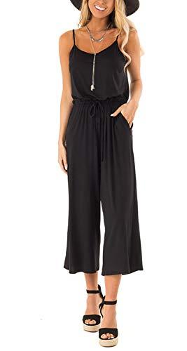 Logtem Womens Casual Spaghetti Strap Drawstring Capri Wide Leg Jumpsuits Black S