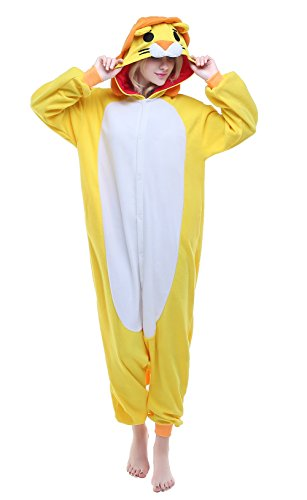 Newcosplay Adult Unisex Lion Onesie Pajamas Costume (S, Yellow -
