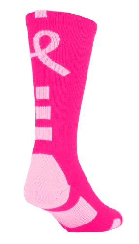Baseline Awareness Athletic Crew Socks (Neon Pink/Pale Pink, Large)