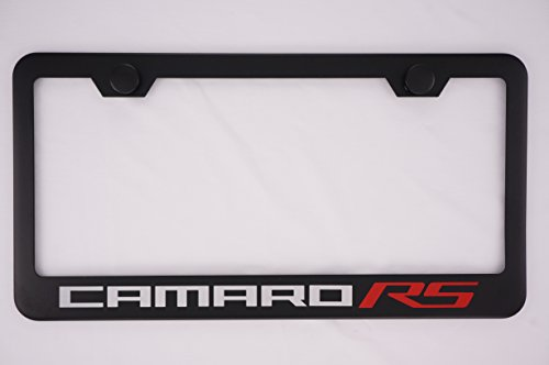 Chevrolet Camaro RS Black License Plate Frame with Caps