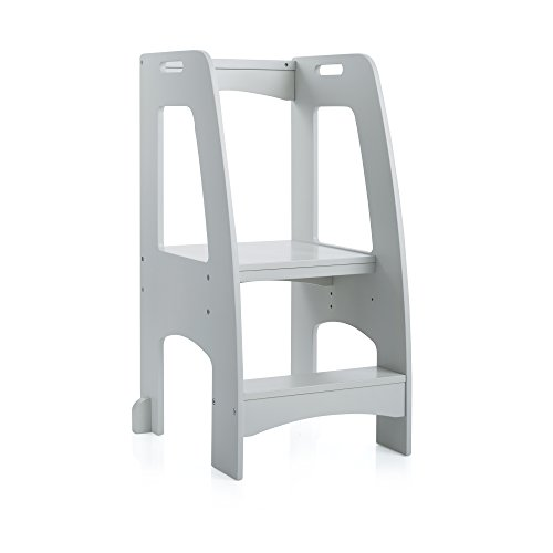 Guidecraft Step Up Kitchen Helper - Gray: Adjustable Height Wooden Baking Stool For Children - Kids Furniture
