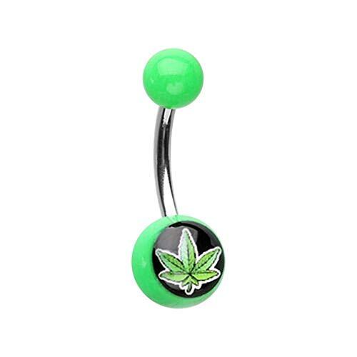 (Marijuana Cannabis Leaf Acrylic Logo WildKlass Belly Button)