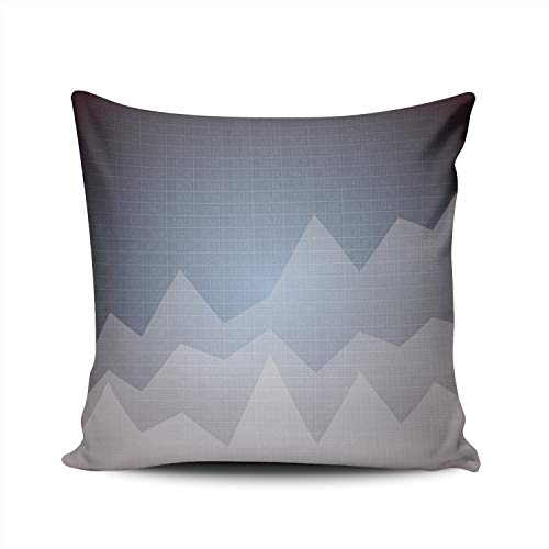 MUKPU Pillow Covers Financial Chart with Uptrend Line Graph Throw Pillow Case Hidden Zipper Decorative Custom Pillow Cases Double Sides Printed Square 16x16 Inches