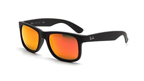 Justin brown Sunglasses Ray Unisex Mirror Rubber Orange Rectangular Black Rb4165 ban AU8UHE