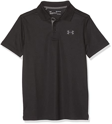 Under Armour Performance Polo Boy's Short-Sleeve Shirt, Black / Carbon Heather / Rhino Gray (001), Youth Medium