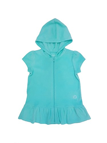 Healthtex Little Girls Toddler Terry Hooded Swimsuit Cover Up (3T, Aqua Mint) (Cloth Terry Cover Swim)