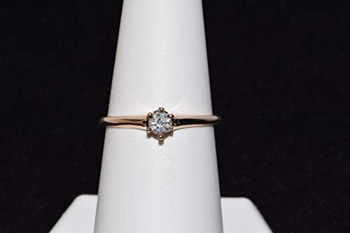 10k Yellow Gold Solitaire Diamond Ring ()