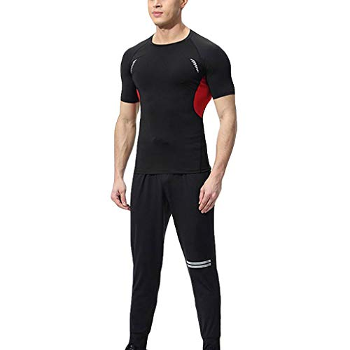 iYBUIA Men's Sports Elastic Fitness T-Shirt Suit Fast Drying Tops Long Pants Tight Suit Red ()