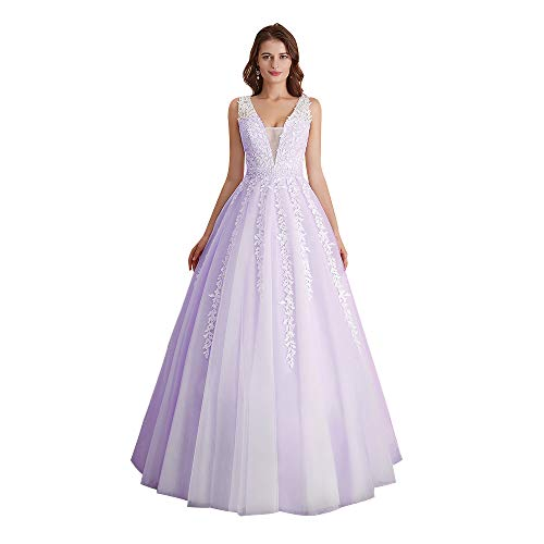 Abaowedding Women's Wedding Dress for Bride Lace Applique Evening Dress V Neck Straps Ball Gowns Lavender US 16