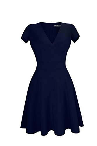 Heloise Women's A-Line Short Sleeve V-Neck Pleated Little Navy Blue Cocktail Party Dress (XS, Dark Navy Blue)