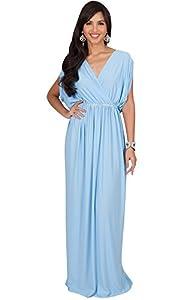 KOH KOH Womens Long Dolman Sleeve Wrap V-Neck Cocktail Bridesmaid Maxi Dress