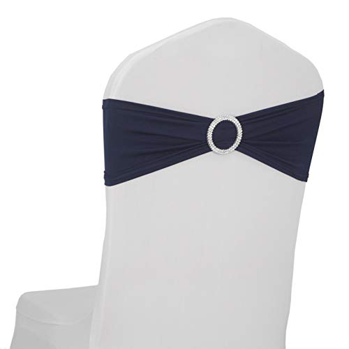 LOVWY 50 PCS Navy Blue Spandex Chair Bands Stretch Chair Sashes Bows for Wedding Party Engagement Event Birthday Graduation Meeting Banquet Decoration (50 PCS, Navy Blue) -