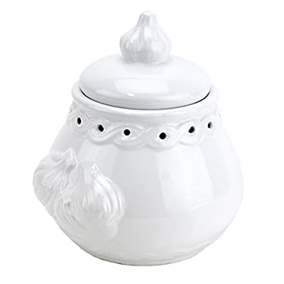 Italian Garlic Keeper Ceramic, White Pottery Terra Cotta by Norpro Kitchenware