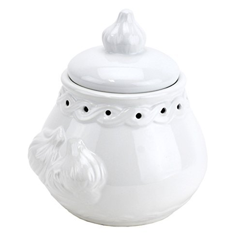 Italian Garlic Keeper Ceramic, White Pottery Garlic Keeper Terra Cotta by Norpro Kitchenware
