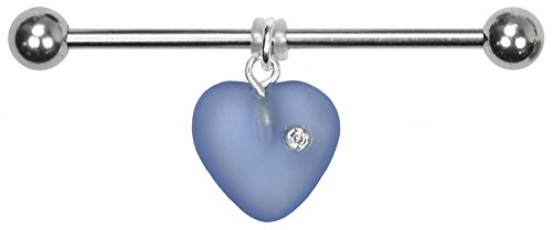 BodySparkle Body Jewelry Juliet Heart Industrial Barbell-14g-28mm-Czech Glass Heart Dangle Industrial Bar -Lt. Blue
