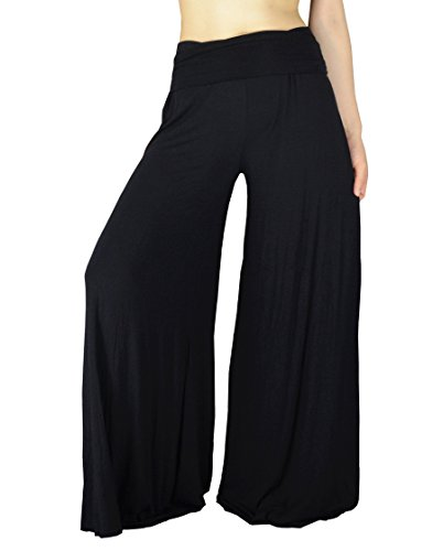 YSJ Women's Fold Over Waist Palazzo Yoga Lounge Pants Wide Leg Culottes Trousers (L, Black)