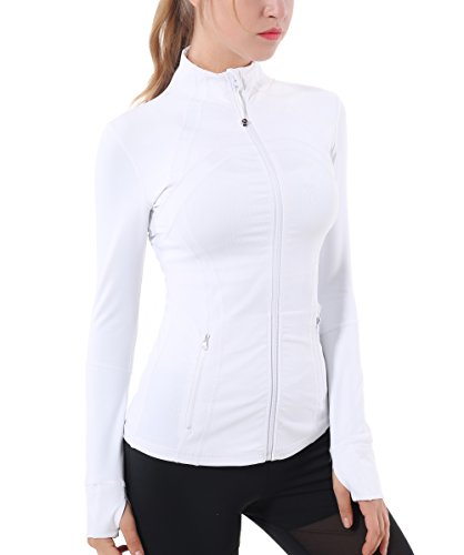 Queenie Ke Women's Sports Define Jacket Slim Fit And Cottony-Soft Handfeel Size L Color Angle White (Activewear Jacket)