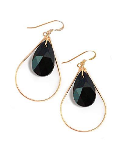 SELFIE Swarovski Crystal Earrings In Black Caviar | Gold Drop Earrings For Women | Teardrop | Gold Dangle | 14K Gold Filled | Hypoallergenic | Women Jewelry | Birthday Wedding Summer Bridesmaid gifts