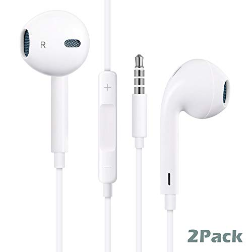 Premium in-Ear Wired Earphones, 2Pack Earbuds/Earphones/Headphones with Remote & Mic Compatible Phone 6s/plus/6/5s/se/5c/iPad/Samsung/MP3 MP4 MP5