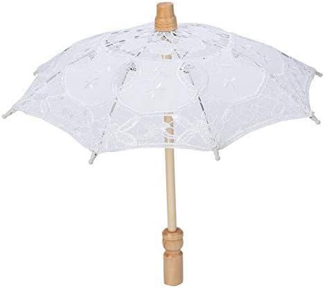 Nikou Kant ParapluHandgemaakte Kant Bloem Borduurwerk Parasol Bruiloft Parasol Paraplu voor Bruid Katoen Mode Houten Handvat Decoratie Paraplu