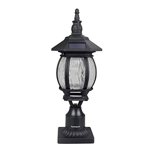 Kemeco ST6220Q-H LED Cast Aluminum Solar Post Light Fixture with 3-Inch Fitter Base for Outdoor