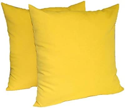 Resort Spa Home Decor Set of 2 – Indoor Outdoor 17 Square Decorative Throw Toss Pillows – Solid Yellow