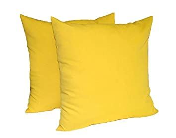 Set of 2 – Indoor Outdoor 20 Square Decorative Throw Toss Pillows – Solid Yellow