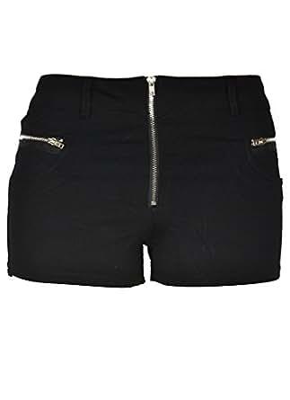 143Fashion Junior's Stretchy Shorts (Small, Black/Zipper)