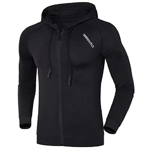 Energy Men's Activewear Hood Jacket Solid Black Runnung Fitness Coat 7SxRq7H