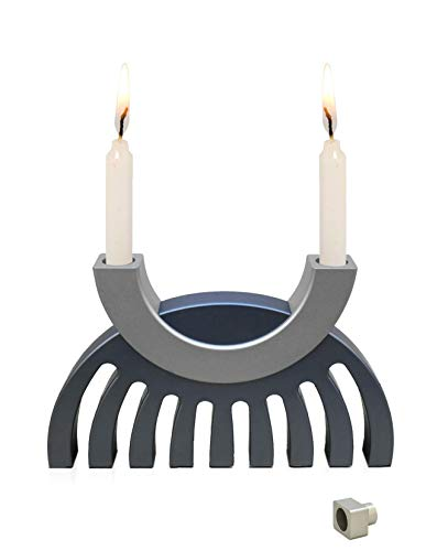 anukkah Menorah - Sabbath Candlesticks, Dual purpose - matte finish-Hard-Anodized Aluminum Many optional colors -Judaica gift -Jewish gifts- by Nadav Art ()