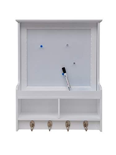 JulieHome Decorative Wall Mounted Organizer with Magnetic Dry Erase White Board,Mail Sorter,Key Hooks for Home Office