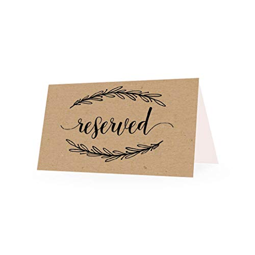 25 Rustic Floral VIP Reserved Sign Tent Place Cards for Table at Restaurant, Wedding Reception, Church, Business Office Board Meeting, Holiday Christmas Party, Printed Seating Reservation Accessories ()