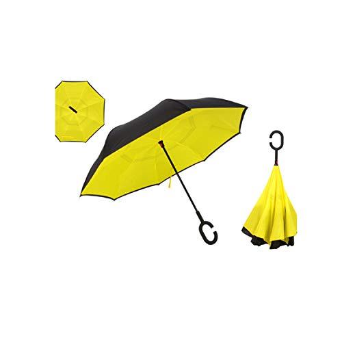 - Wenzi-day Sunflower Folding Reverse Umbrella Double Layer Inverted Windproof Rain Car Umbrellas For Women C Handle Umbrellas Man,YELLOW