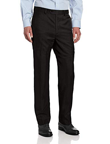 (Savane Men's Flat Front Stretch Crosshatch Dress Pant, Black, 34W x 29L)