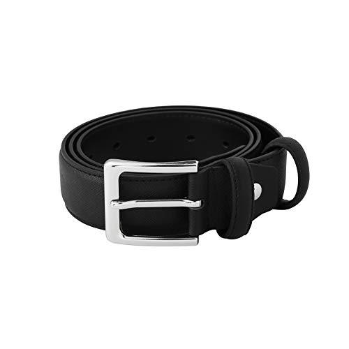 [해외]Mens Dark Brown Wide Western Genuine Designer Leather Golf Dress Belt with Stitching Edge Silver Metal Prong Buckle / Mens Genuine Leather Dress Belt with Single Prong Buckle 1.25 Fashion Premium Working Belts for Men Jeans Waist P...