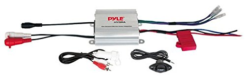 Pyle Hydra Marine Amplifier - Upgraded Elite Series 400 Watt 2 Channel Micro Amplifier - Waterproof, GAIN Level Controls, RCA Stereo Input, 3.5mm Jack & Volume Control ()