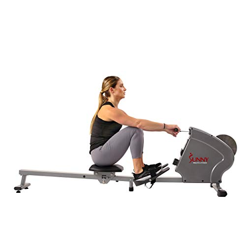 Sunny Health & Fitness SF-RW5856 Magnetic Rowing Machine Rower, 11 lb. Flywheel and LCD Monitor with Tablet Holder, Gray by Sunny Health & Fitness (Image #9)