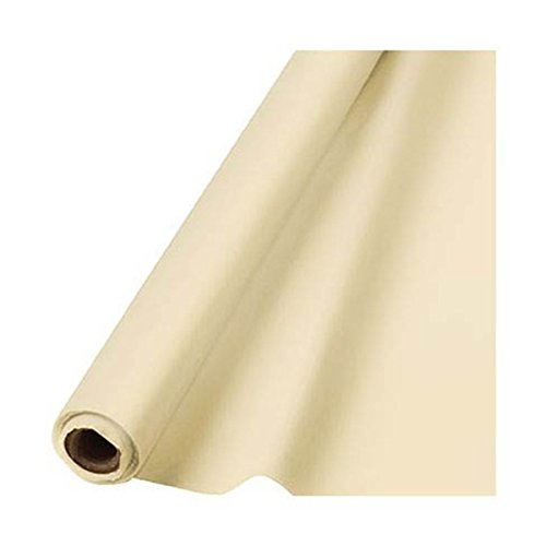 Amscan Reusable Waterproof Table Cover Roll , 1 Piece, Made from Plastic, Vanilla Creme, 40