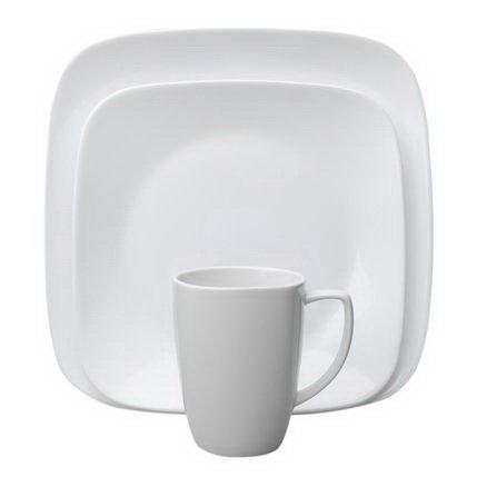 Corelle Square Pure White 16-Pc Set W/ Bonus 10-Oz Bowls