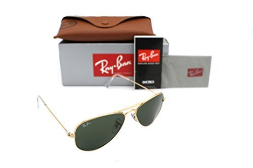 RAY BAN AVIATOR RB 3044 L0207 52mm GOLD FRAME W/ G-15XLT GREEN SUNGLASSES - White Bans Ray Aviator