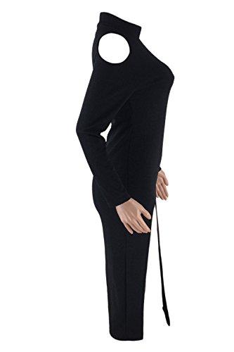 Alto Split Frio negro Hombro Embudo Bodycon Cuello La Vestido Mujer MIDI Casual aqtff1