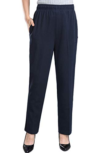 Soojun Womens Stretch Knit Pants Pull On Pants with Elastic Waist, Navy, 12