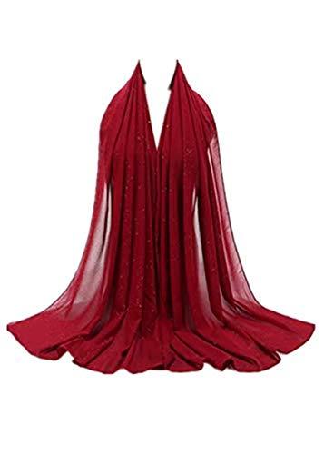 Muslim Head Scarf Hijab Silk Scarf For Women Long Shawl Soft Lightweight Head Wrap Underscarf (Wine Red)