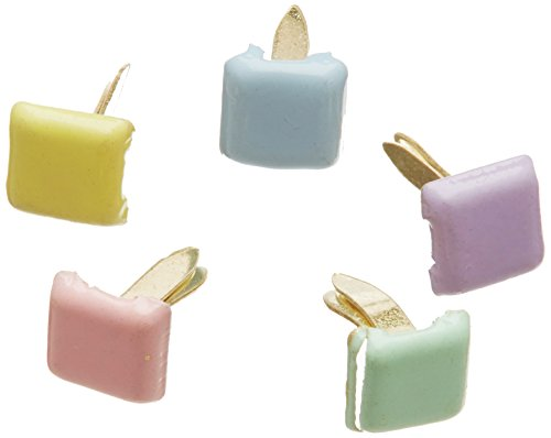Creative Impressions Mini Painted Metal Paper Fasteners 100/Package, Assorted Pastel Square (Fasteners Brad Square)