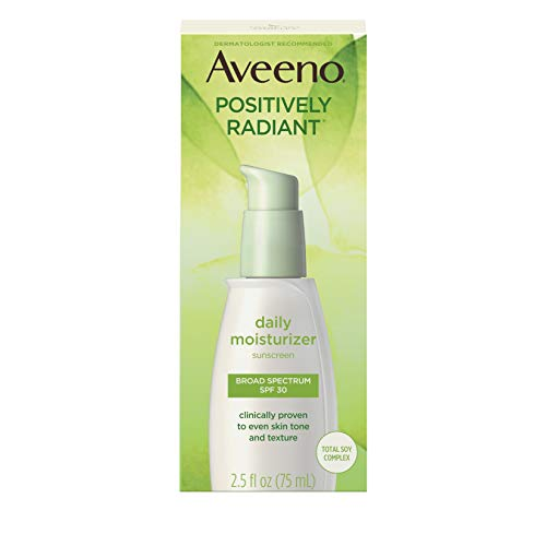 Aveeno Positively Radiant Daily Facial Moisturizer with Total Soy Complex and Broad Spectrum SPF 30 Sunscreen, Oil-Free and Non-Comedogenic, 2.5 fl. oz