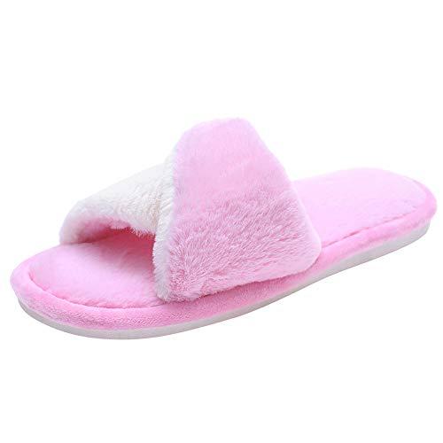 Womens Warm Comfortable Fashion Pink Slippers Open Shoes Toe Home Flat Fur Cross pFAwx