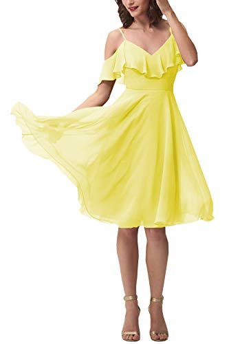 (Now and Forever Short A-Line V Neck Ruffled Chiffon Prom Bridesmaid Dresses for Women Formal Gown (Light Yellow,8))