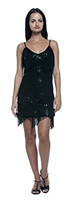 Women's Tiered Fringe Sequin Flapper Vintage Style 20s Cocktail Party Slip Dress