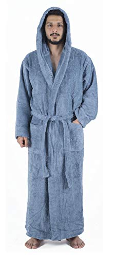 Arvec Men's Combed Turkish Cotton Terry Full Ankle Length Hooded Bathrobe (Large/X-Large, Wedgewood Blue) -